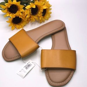 Old Navy Faux- leather single strap Mustard Sandal